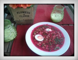 Cold borscht Russian traditional summer beetroot soup recipe