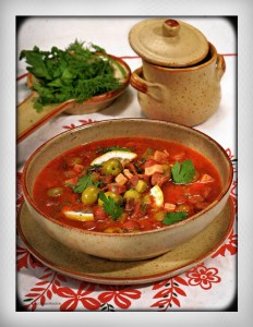 Solyanka traditional Russian appetizer soup with cured meats for parties