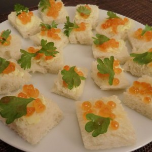 Russian finger food caviar buttered bread