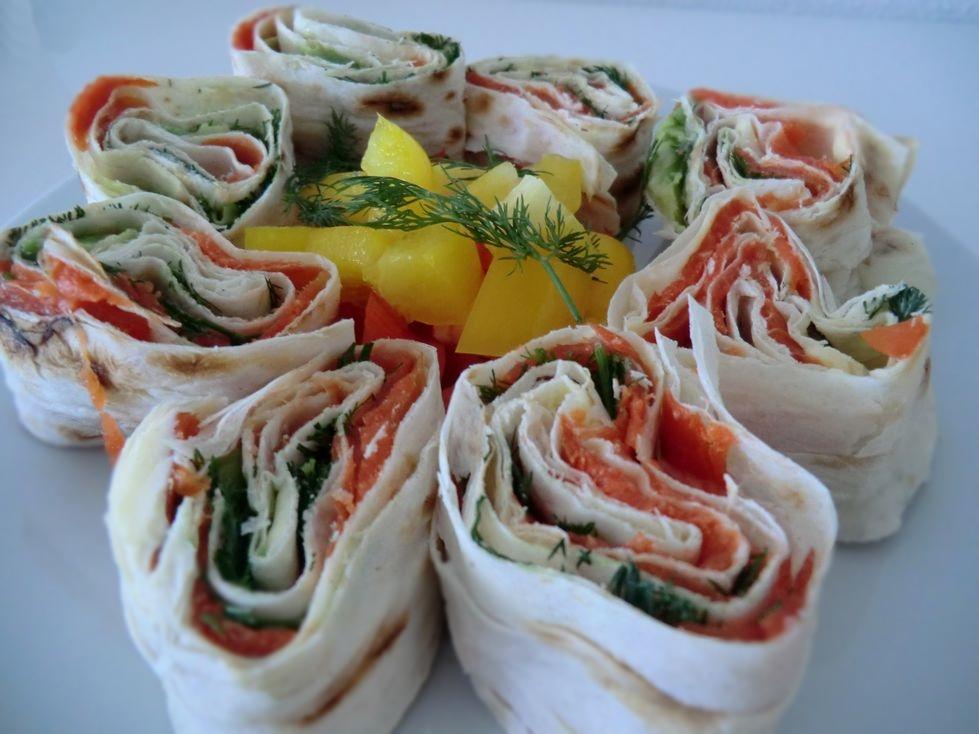 Lavash salmon rolls