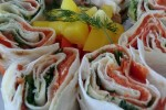Lavash rolls with smoked salmon
